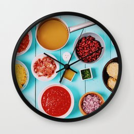 Red and Yellow Capsicum, Onion, Bacon, Vegetable Stock, Ketchup, Beans and Peas And Vermicelli Pasta Wall Clock