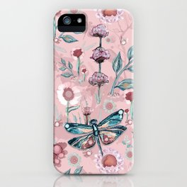Rose Gold Dragonfly Garden | Pastel iPhone Case
