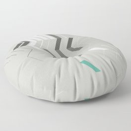 Deconstructed Chevron B – Gray / Teal Abstract Pattern Floor Pillow