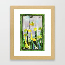 Flowers in Green Framed Art Print