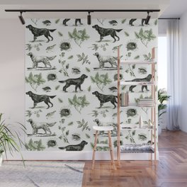 BIRD DOGS & GREEN LEAVES Wall Mural