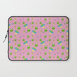 Pastel Pink Aliens - Spaceship UFOs Laptop Sleeve