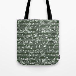 Hand Written Sheet Music // Timber Green Tote Bag