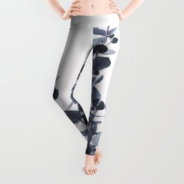 Blue Eucalyptus Leaves Leggings