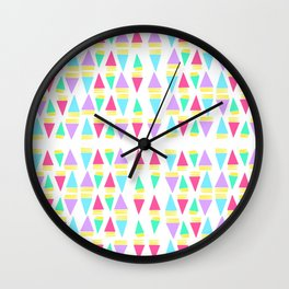 Colorful Triangles with Stripes Pattern // Cheerful Triangles Illustration  Wall Clock