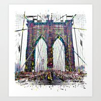 brooklyn bridge Art Prints featuring brooklyn bridge by Vector Art