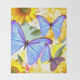 Bright Blue Butterflies Yellow Flowers #decor #society6 #buyart Throw Blanket