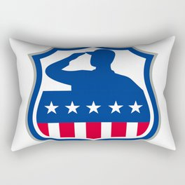 American Soldier Saluting USA Flag Crest Icon Rectangular Pillow