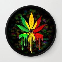Marijuana Leaf Rasta Colors Dripping Paint Wall Clock