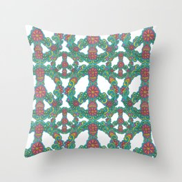 Peace Sign with flowers and swirls  Throw Pillow