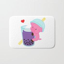 Pig with Purple Bubble Tea Bath Mat