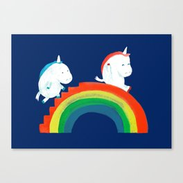 Unicorn on rainbow slide Canvas Print