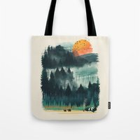 camp Tote Bags featuring Wilderness Camp by dan elijah g. fajardo