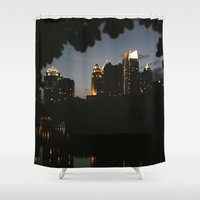 atlanta Shower Curtains featuring Atlanta at Night by Akia Ng