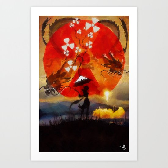 umbrellaliensunshine: SpaceX dragon launch Art Print