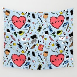 Love - blue Wall Tapestry