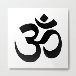 Minimal Black & White Om Symbol Metal Print