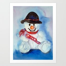 Snow teddy Art Print