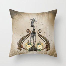 Cute steampunk giraffe  Throw Pillow