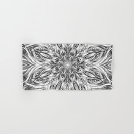Gray Center Swirl Mandala Hand & Bath Towel