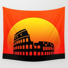 Sunset and colosseum in a red sky Wall Tapestry