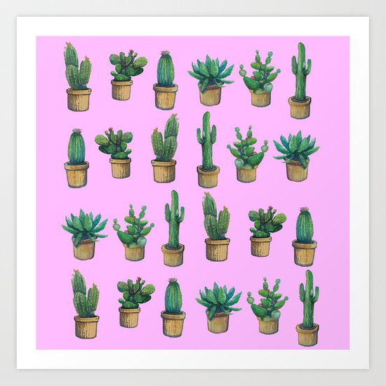 cactus pink 3 Art Print