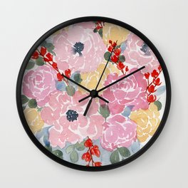 """""""Bright Florals"""" loose flower watercolor painting Wall Clock"""