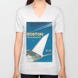Boston, Massachusetts Vintage travel poster Unisex V-Neck