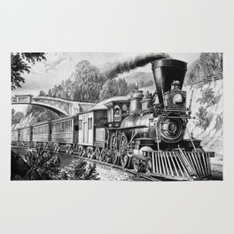 The Express Train 1870 Rug