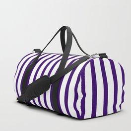 Violet & White Vertical Stripes Duffle Bag