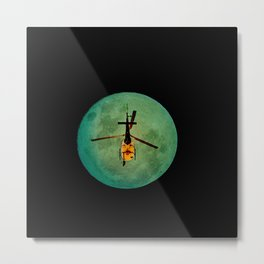 Helicopter returning home during a full moon night Metal Print