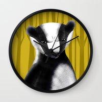 badger Wall Clocks featuring Badger by makoshark