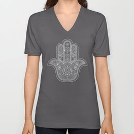 Hamsa Hand in White Unisex V-Neck
