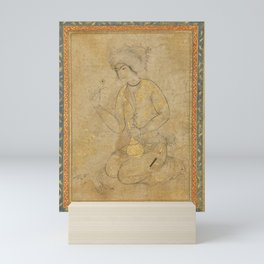 A portrait of a kneeling youth, Persia, Isfahan, Safavid, early 17th century Mini Art Print