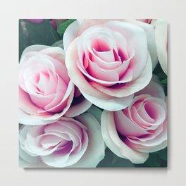'La Vie Est Belle' (Life is Beautiful) Pink Roses Metal Print