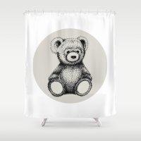 teddy bear Shower Curtains featuring Teddy Bear by Nicole Cioffe