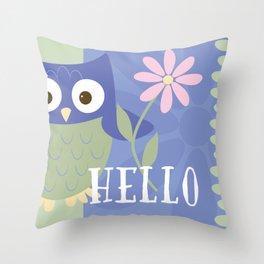 Hello Baby Owl Throw Pillow
