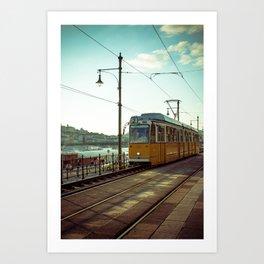 Retro Tram 2 in Budapest. Yellow tram photography. Art Print