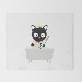 Bathing Cat in a bathtub Throw Blanket