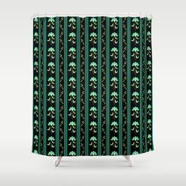 Folk Art Blue Floral Stripe - Black Shower Curtain