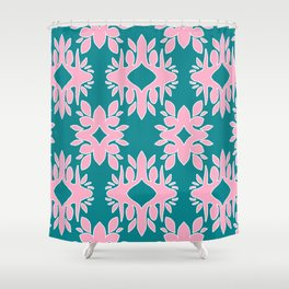 Katherine - Digital Symmetrical Abstract in Pink and Teal Shower Curtain