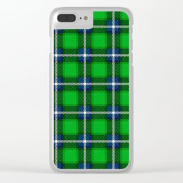 Scottish Tartan Blue and Green Clear iPhone Case