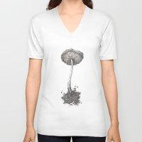 mushroom V-neck T-shirts featuring Mushroom by Amber J Cross