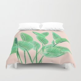 Modern pink tropical green watercolor hand painted leaf pattern Duvet Cover