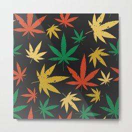 Cannabis Leaf Pattern Metal Print
