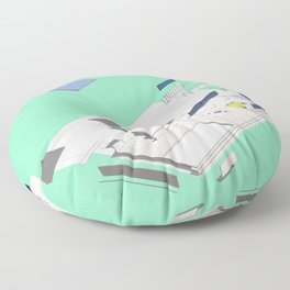 Exploded Barcelona drawing Minty Floor Pillow