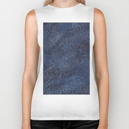 Vintage Circle of Life Mandala full color on blue swirl Distressed Biker Tank