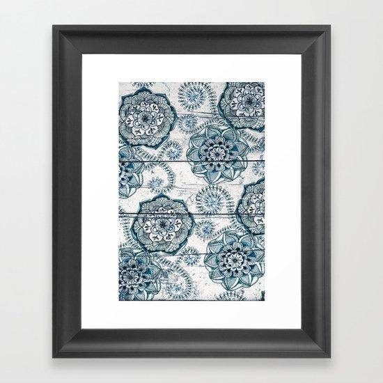 Navy Blue Floral Doodles on Wood Framed Art Print