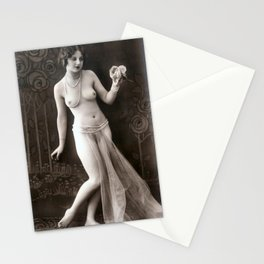 Vintage Risque Nude Art Study Lady In Pearls R19 Stationery Cards