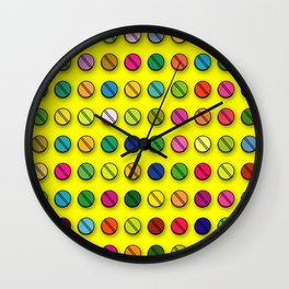 Multi-coloured Pills Pattern Wall Clock